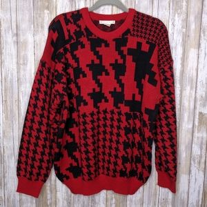 Vintage Houndstooth Oversized Sweater 1X Knit